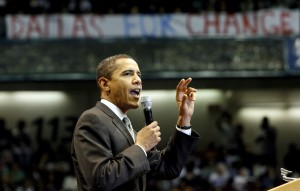 Democratic presidential hopeful U.S. Senator Barack Obama on the campaign trail in Dallas, Texas.